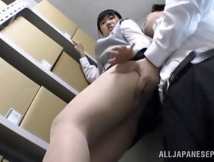 Cock sucking Japanese babe gets hardcore fucked in storeroom