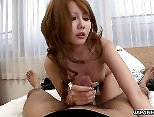 Sexy ass Asian hoes sucking a guy off in bed